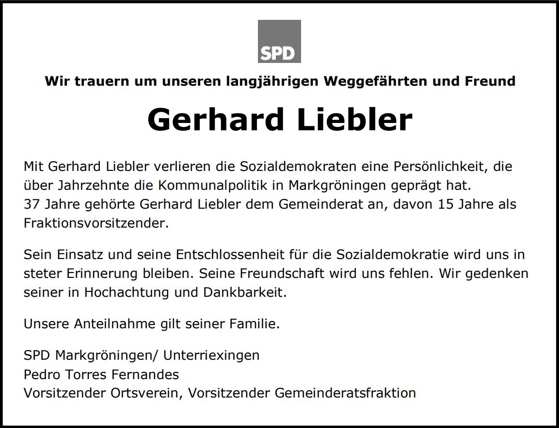 Wir trauern um Gerhard Liebler
